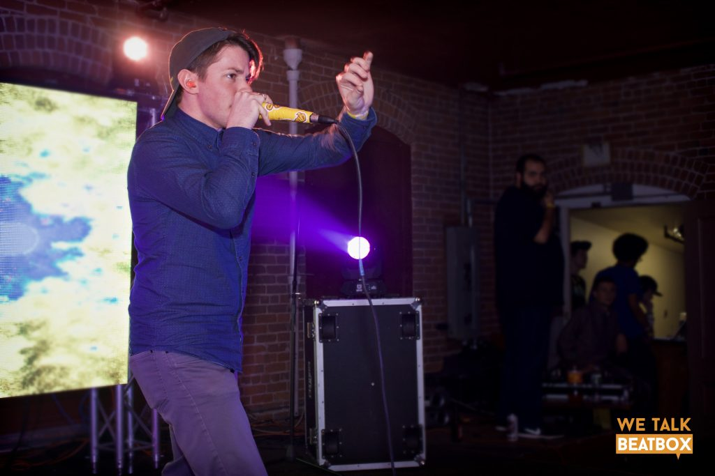 Bn Mirin takes up the stage at the New England Beatbox Battle
