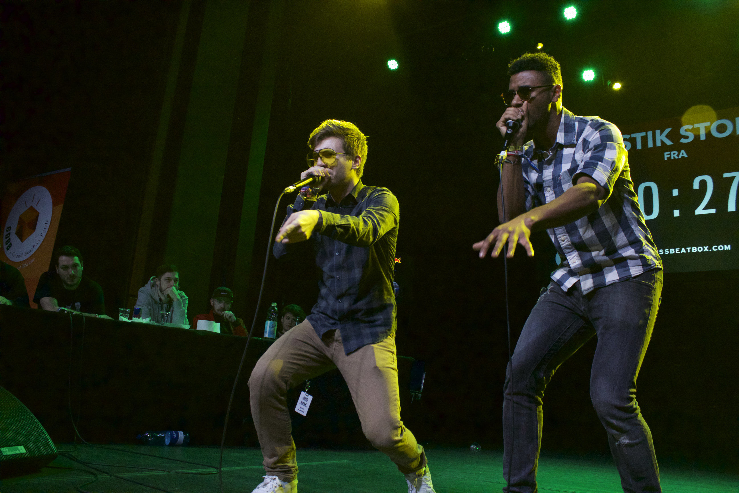 Alexinho and Efaybee at the 2016 Grand Beatbox Battle.