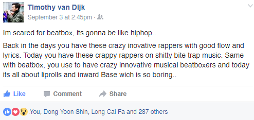 Timmeh's Beatbox Facebook Comment