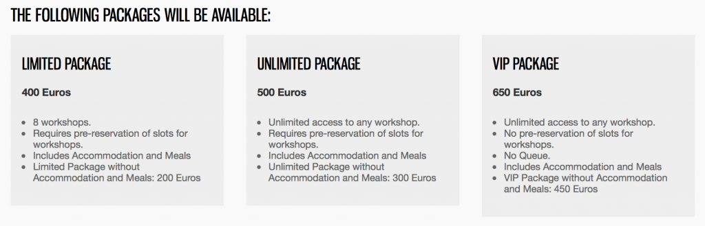 The Limited, Unlimited and VIP package for Camp